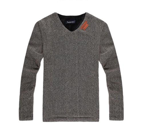Plaid&Plain Men's Winter V Collar Fleece Lined Pullover Sweatshirts