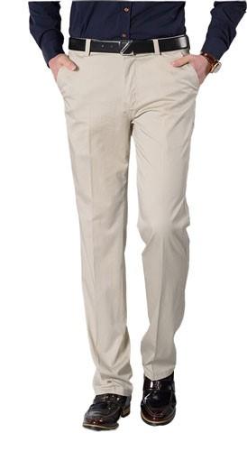 Plaid&Plain Men's Wrinkle-resistant Flat-Front Pants