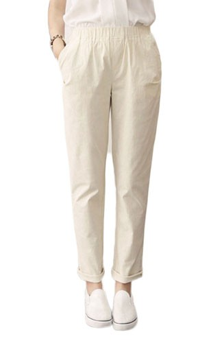 Plaid&Plain Women's Full Length Plain Loose Fit Linen Pants