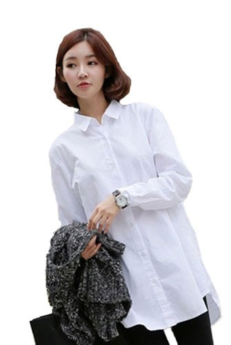 Plaid&Plain Women's Loose Long White Button Down Shirt Blouse