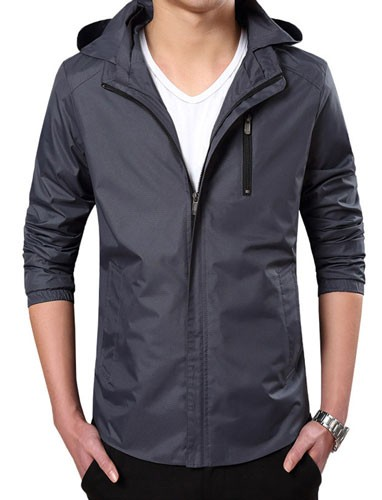 Plaid&Plain Men's Lightweight Waterproof Jacket Hooded Jacket