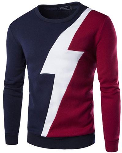 Plaid&Plain Men's Stitching Color Flash Round Neck Sweatshirt
