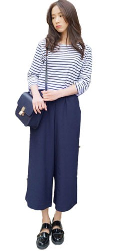 Plaid&Plain Women's Loose Chiffon Wide Leg Capri Pants Culottes