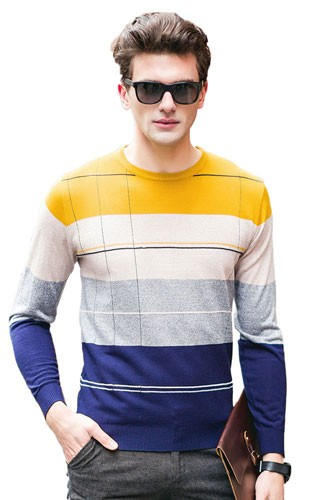 Plaid&Plain Men's Crew Neck Striped Color-Block Sweater