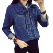 Plaid&Plain Women's Long Sleeve Denim Blouse Jean Shirt with Bow Tie