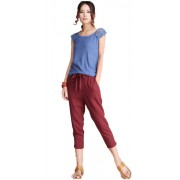 Plaid&Plain Women's Loose Fit Linen Capri Pants Cropped Trousers