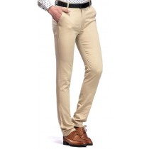 Plaid&Plain Men's Cotton Wrinkle-resistant Straight Leg Pants