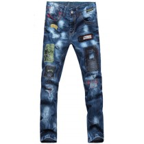 Plaid&Plain Men's Slim Fit Stitching Distressed Ripped Acid Wash Jeans