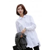 Plaid&Plain Women's Loose Long White Button Down Shirt Blouse