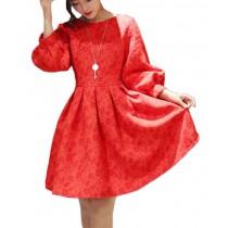 Plaid&Plain Women's Jacquard Embroidery 3/4 Puff Sleeve High Waist Midi Dress