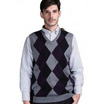 Plaid&Plain Men's Argyle V-Neck Golf Sweaters Vest