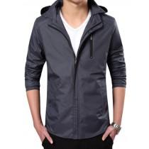 Plaid&Plain Men's Lightweight Waterproof Jacket Hooded Jacket