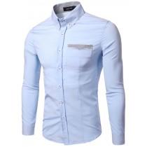 Plaid&Plain Men's Slim Fit Stripe Patched Pocket Dress Shirt