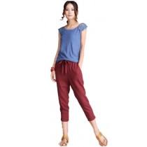 Plaid&Plain Women's Loose Fit Linen Capri Pants Cropped Trousers