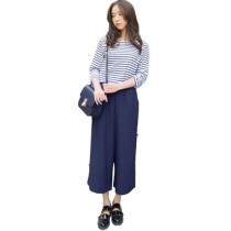 Plaid&Plain Women's Loose Chiffon Wide Leg Capri Pants Culottes