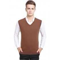 Plaid&Plain Mens V Neck 100% Wool Sweater Vest Slipover Sleeveless Jumper