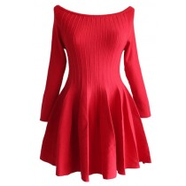 Plaid&Plain Women's Long Sleeve Scoop Neck Off Shoulder Knitting Dress